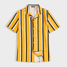 Men Notch Collar Striped Shirt