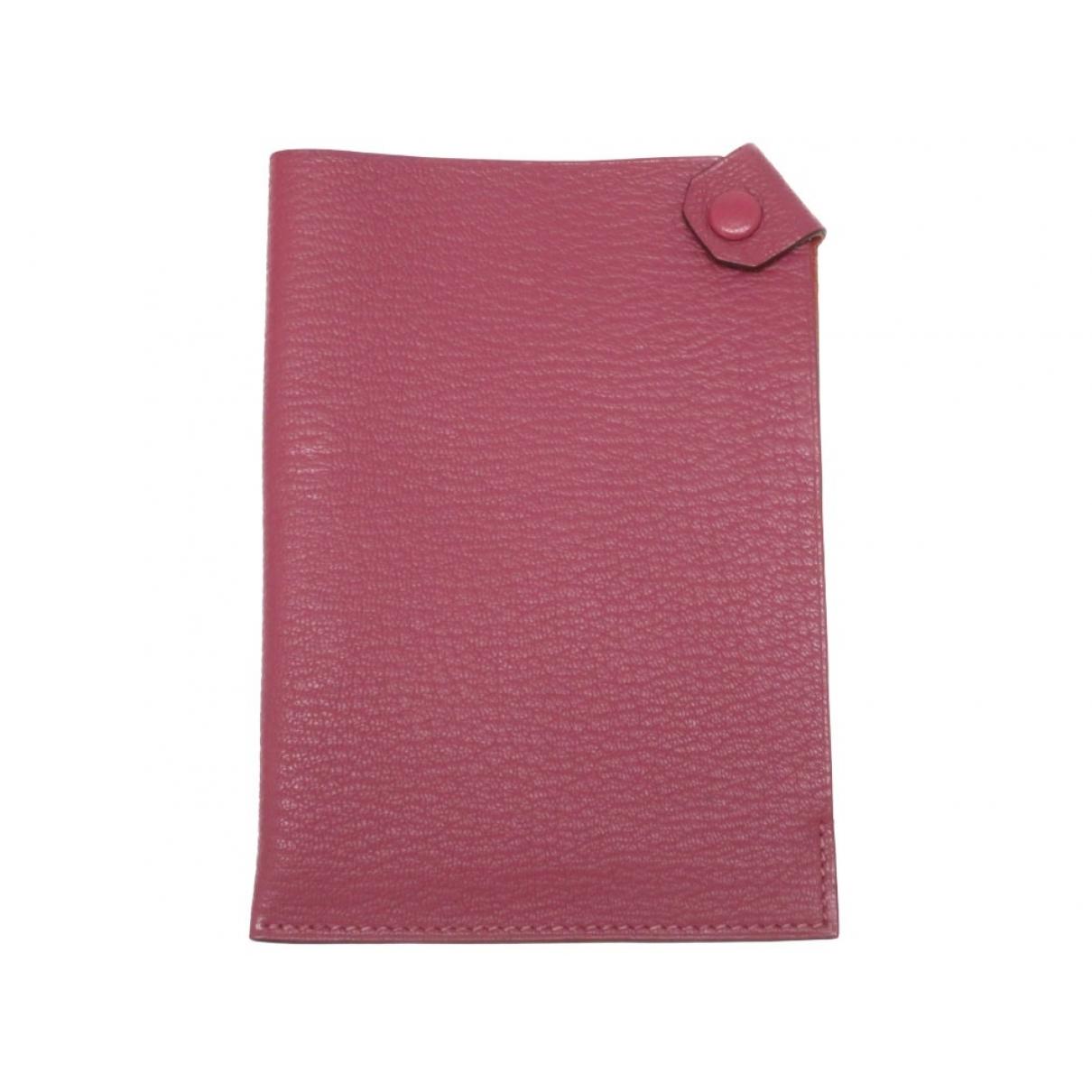 Hermes - Petite maroquinerie Tarmac pour femme en cuir - rose