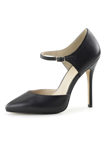 Milanoo Womens High Heels Black Slip-On Pointed Toe Stiletto Heel Sequins Sexy Vintage Pumps