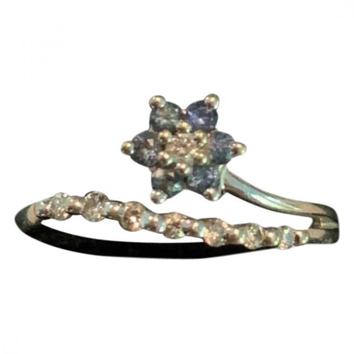 Non Signe / Unsigned Motifs Floraux Ring in  Blau Weissgold