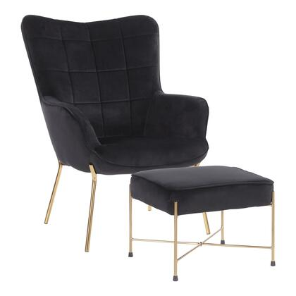 C2-IZZY AUVBK Izzy Contemporary Lounge Chair and Ottoman Set in Gold Metal and Black Velvet