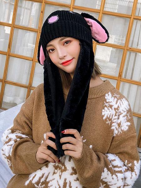 Milanoo Sweet Lolita Hat Bunny Ear Knit Patchwork Lolita Balloon Hat