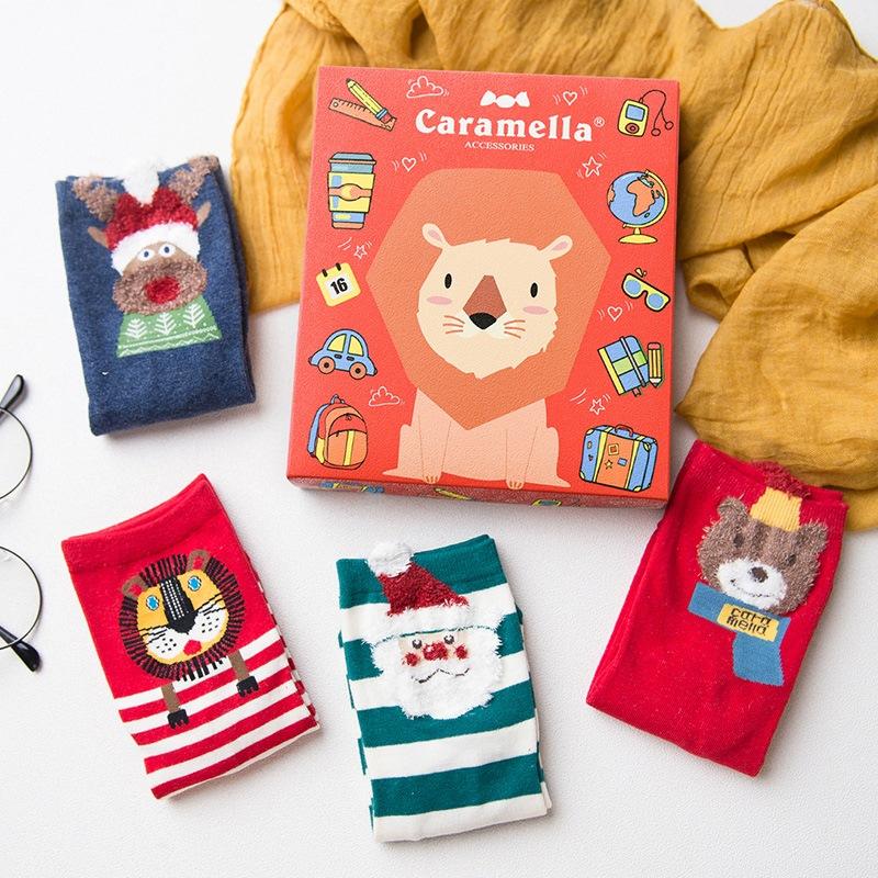 Mixed Pattern Christmas Gift Socks for Girls Crew Hosiery 4 Packs