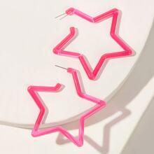 Star Shaped Hoop Earrings 1pair