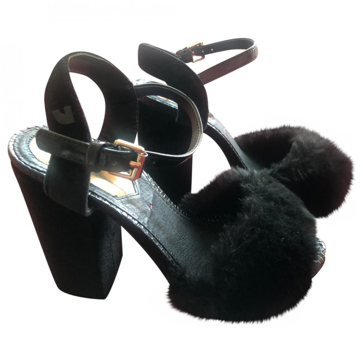 Gioseppo - Sandales   pour femme en fourrure synthetique - noir