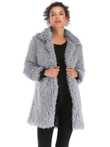 Milanoo Abrigos de piel sintetica para mujer, manga larga, cuello vuelto clasico, abrigo de algodon rosa para mujer