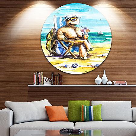Design Art Turtle Enjoying Holidays on Beach UltraVibrant Large Seashore Metal Circle Wall Art, One Size , Multiple Colors