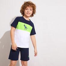 Jungen Top mit Dinosauier Muster und Shorts Set