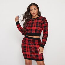 Plus Contrast Trim Plaid Top & Skirt Set