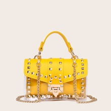 Studded Decor Flap Satchel Bag With Inner Pouch