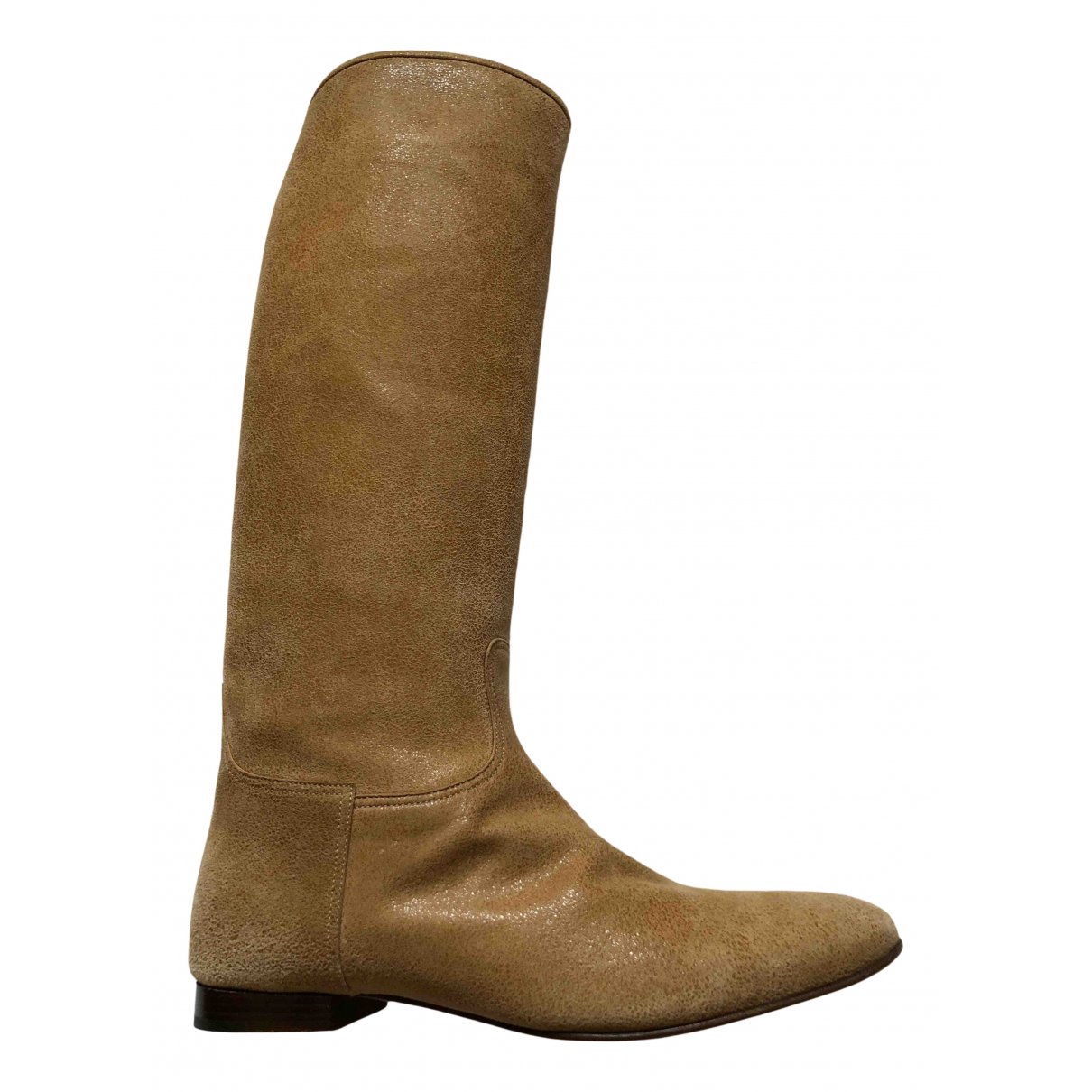 Hermes - Bottes   pour femme en cuir - camel