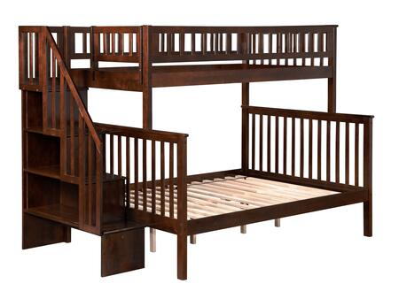 Woodland Collection AB56704 Twin Over Full Bunk Bed with Staircase Included  Slat Design  Assembled Panels  Kid-Friendly and Hardwood Construction in