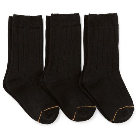 Gold Toe Little & Big Boys 3 Pair Crew Socks, 5-6.5 , Black