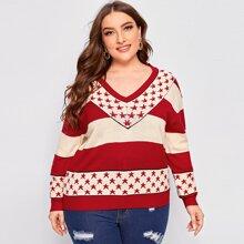 Pullover mit V-Kragen, Stern Einsatz und Farbblock