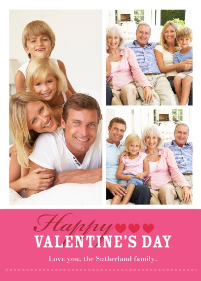 Valentine's Cards Mail-for-Me Premium 5x7 Flat Card, Card & Stationery -Happy Valentine's Day Pink