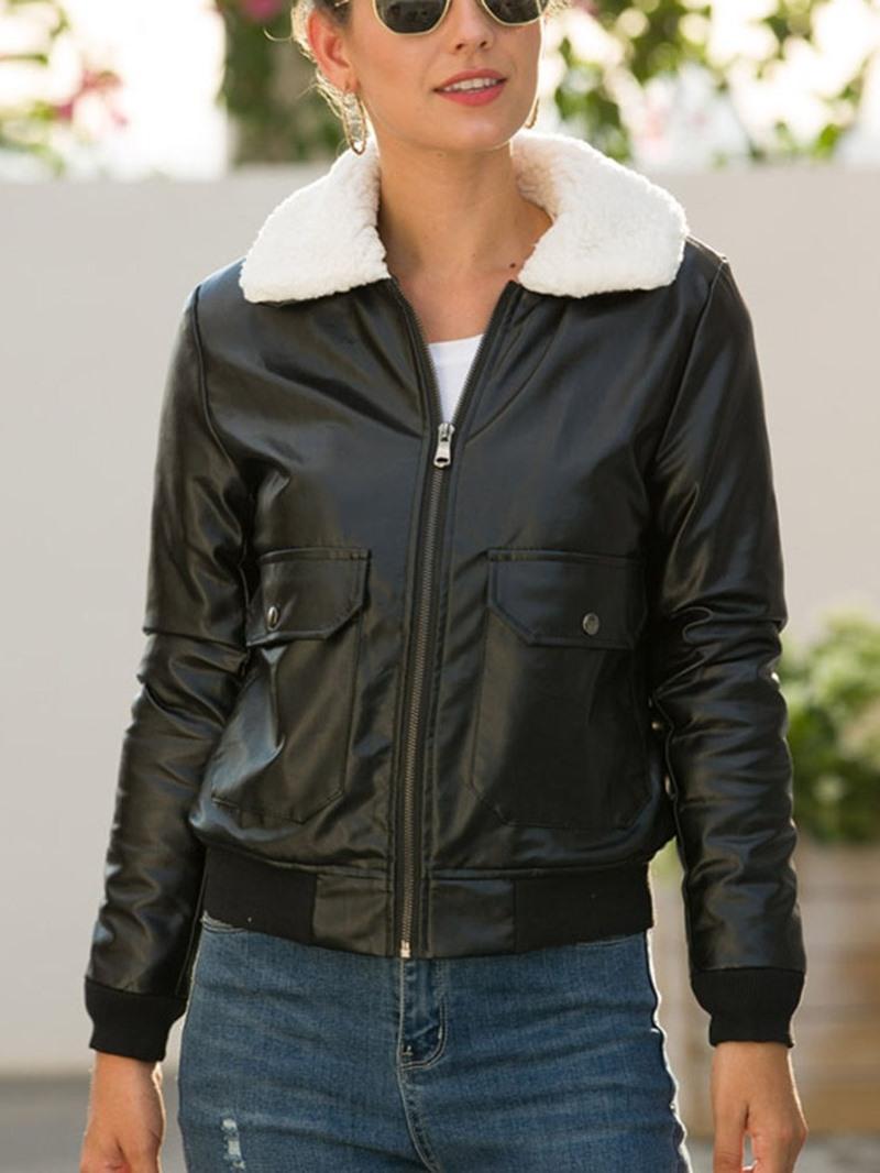 Ericdress Slim Zipper Standard Women's PU Jacket