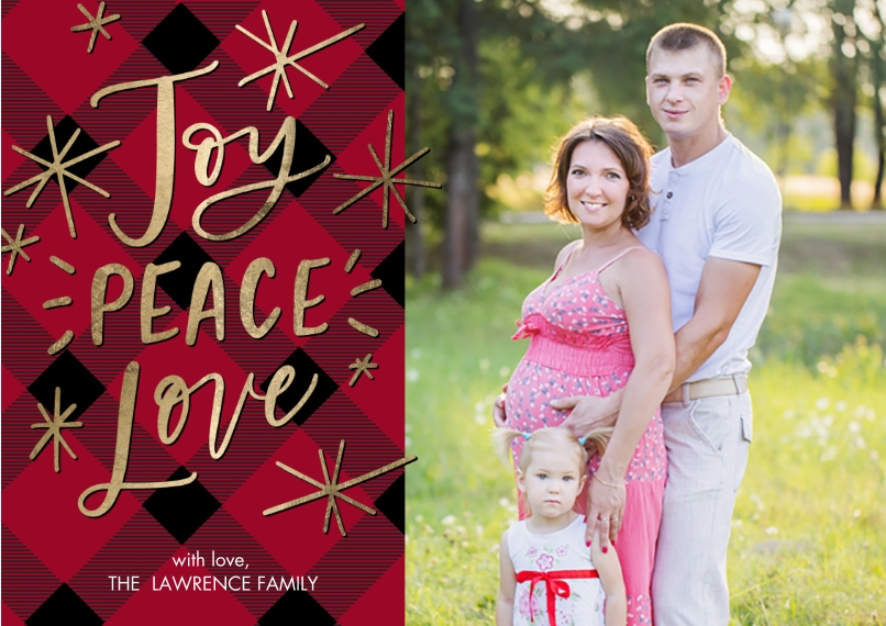 Christmas Photo Cards Flat Matte Photo Paper Cards with Envelopes, 5x7, Card & Stationery -Christmas Joy Peace Love Stars by Tumbalina