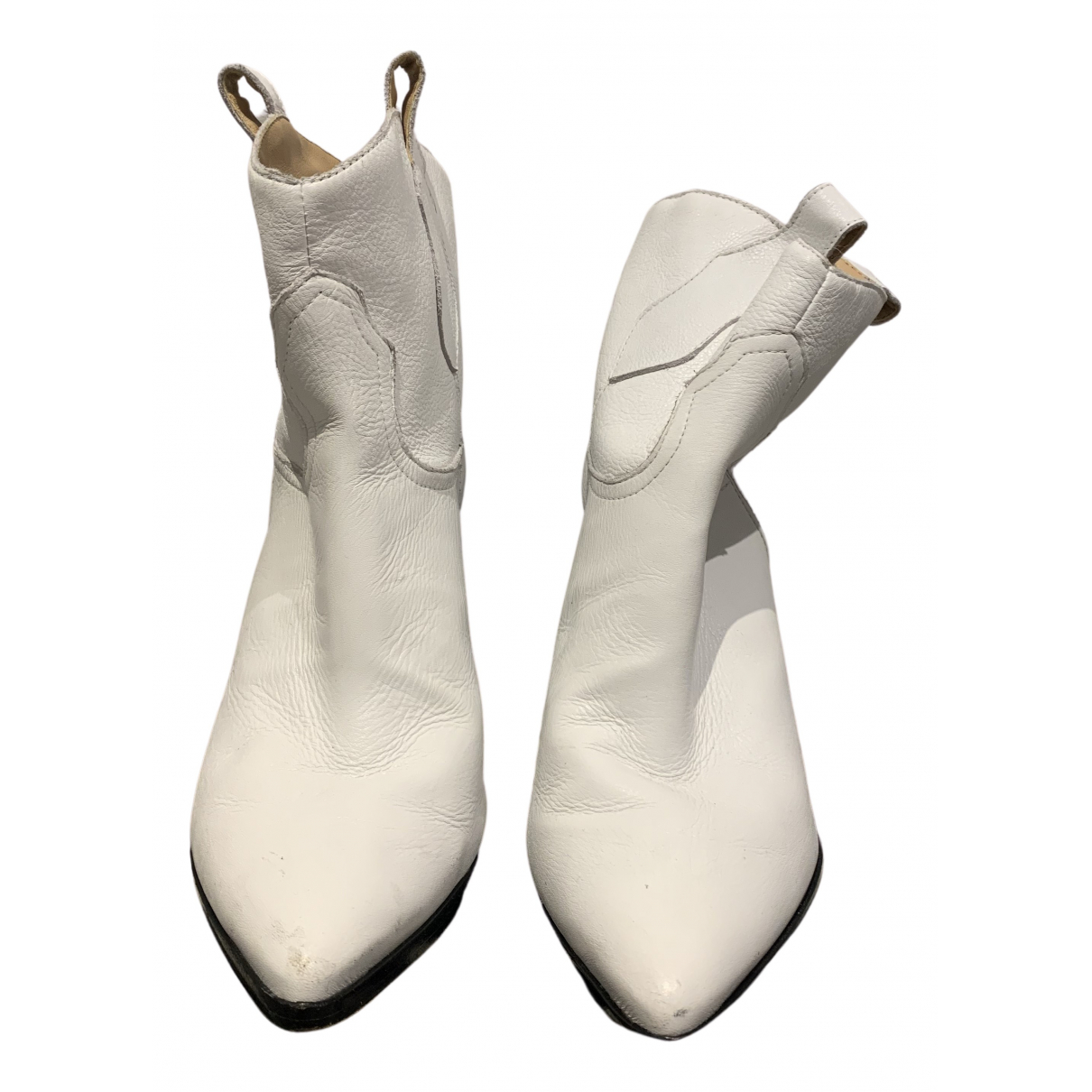 Schutz N White Leather Ankle boots for Women 7.5 UK