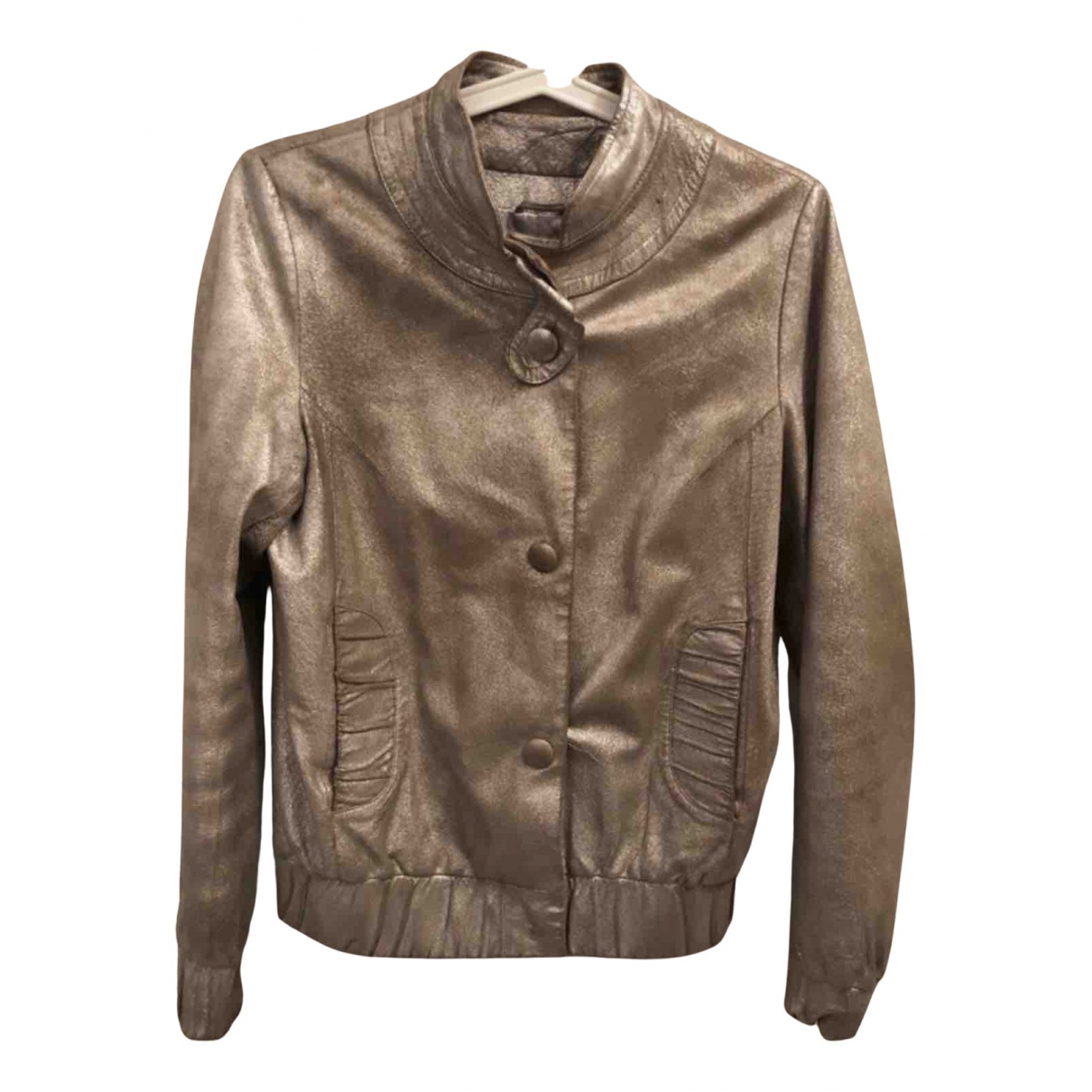 Maje N Gold Leather Leather jacket for Women 36 FR