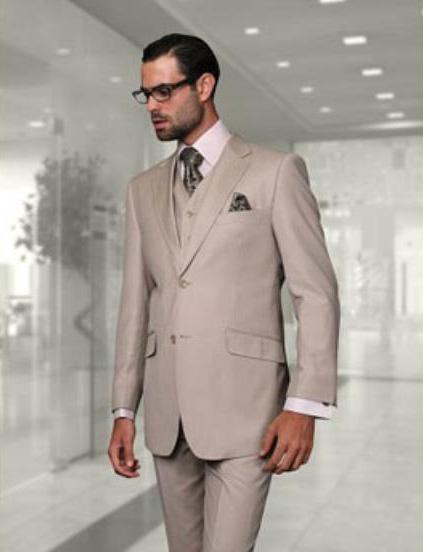 Statement Men's Sand 2 Button Modern Fit Wool Suit