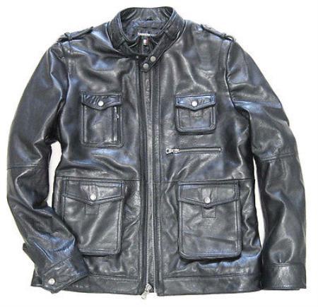 Men's Military Field  Lambskin Leather & Zip Front avenue jacket