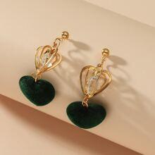 Zircon Heart Drop Earrings