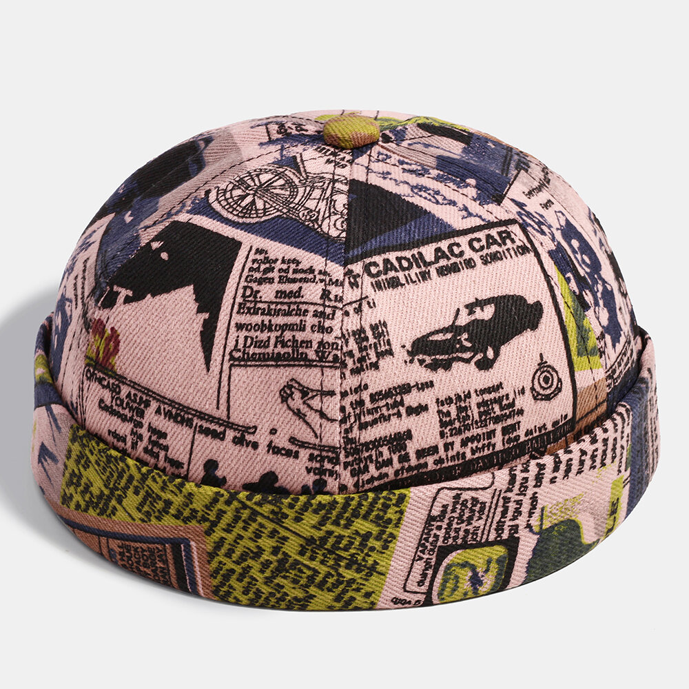 Men Patchwork Cartoon Pattern Brimless Landlord Cap Skull Cap
