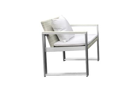 BM172073 Anodized Aluminum Upholstered Cushioned Chair with Rattan