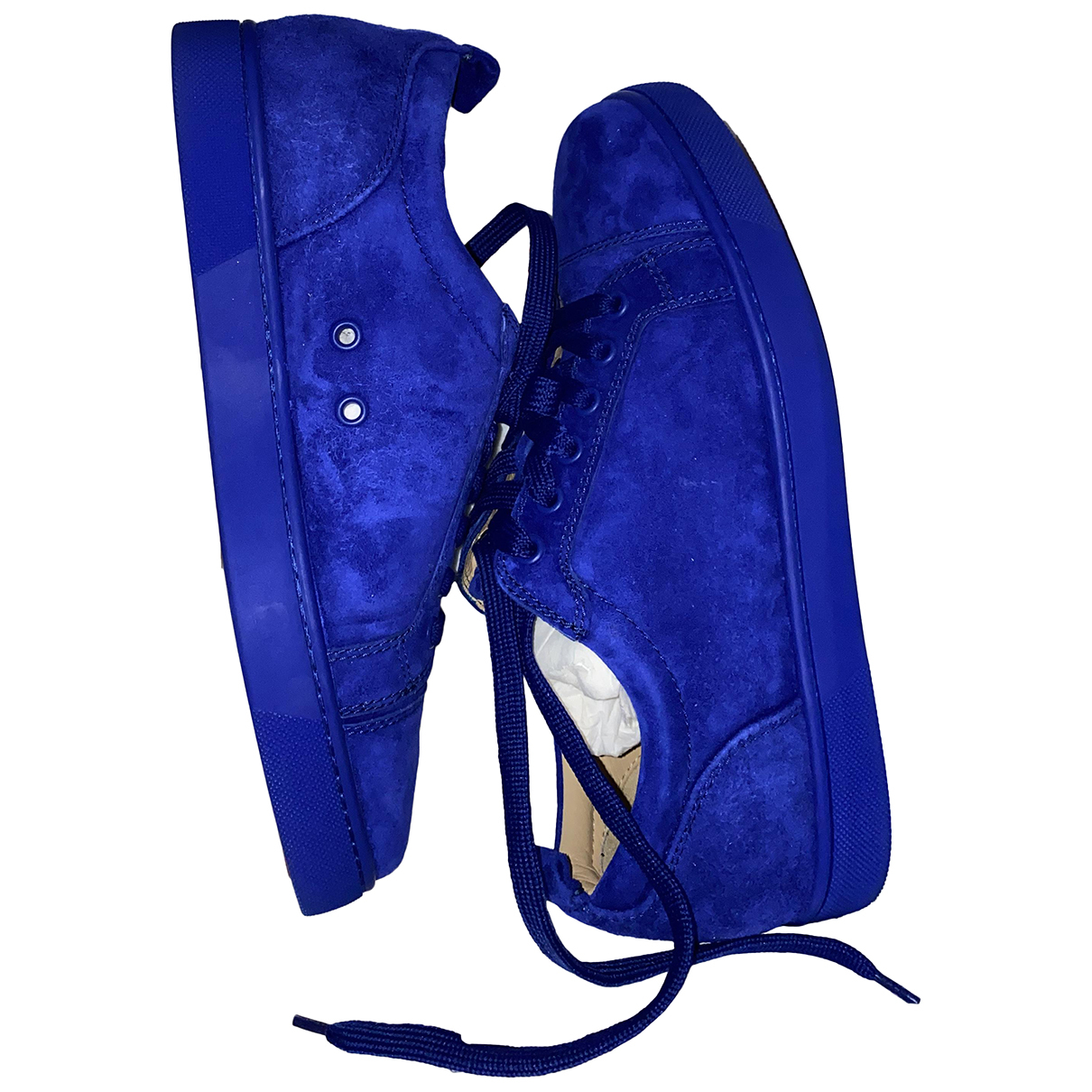 Christian Louboutin - Baskets Louis junior spike pour homme en cuir - bleu