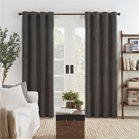 Eclipse Ambiance Draft Stopper Energy Saving 100% Blackout Grommet-Top Single Curtain Panel, One Size , Black