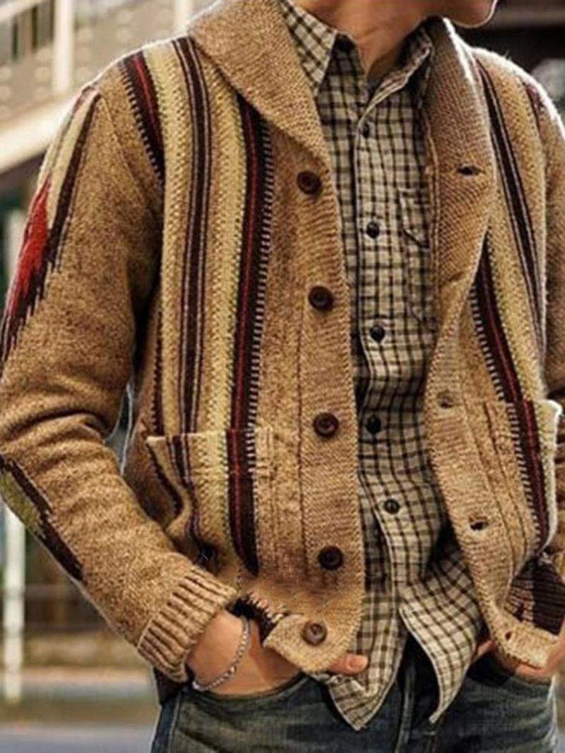 Ericdress Pocket Stripe Lapel Single-Breasted England Sweater