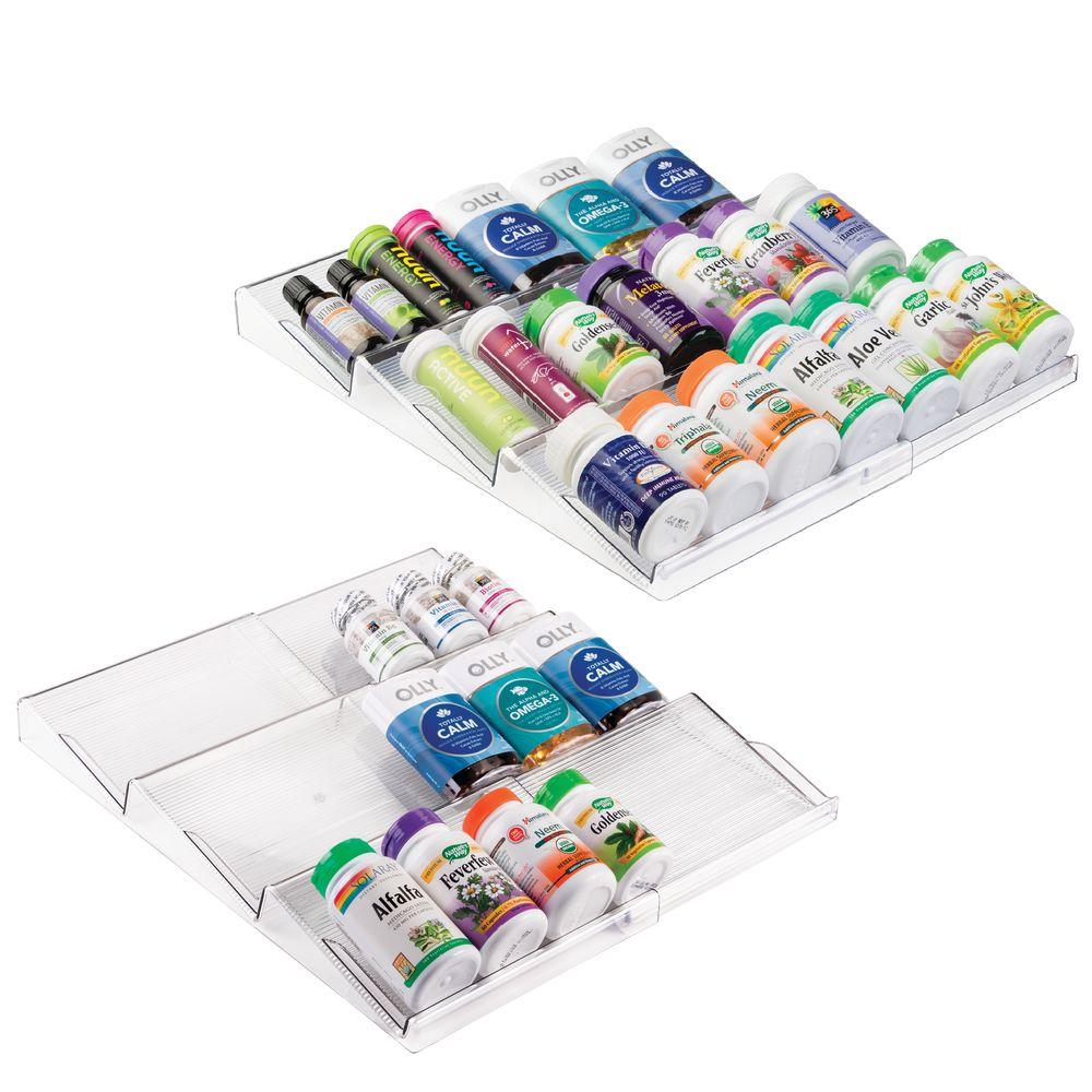 Expandable Bathroom Vitamin Storage Drawer Organizer in Clear, 16.5