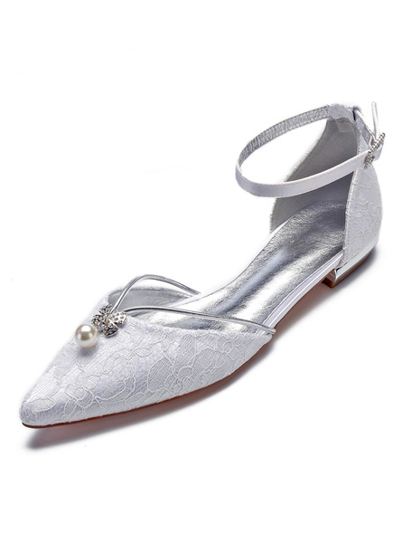 Milanoo Lace Wedding Shoes Pointed Toe Pearl Rhinestone Ankle Strap White Bridal Shoes