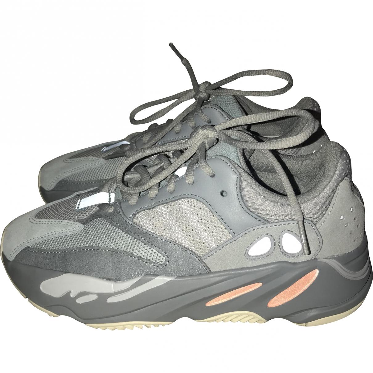 Yeezy X Adidas - Baskets   pour femme en cuir - gris