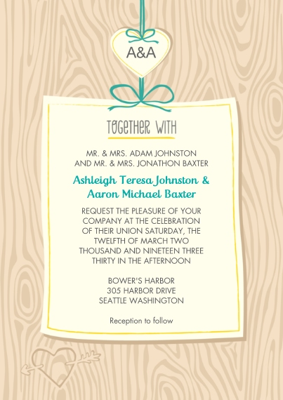 Wedding Invitations 5x7 Cards, Premium Cardstock 120lb with Scalloped Corners, Card & Stationery -Carved in Wood Wedding Invite