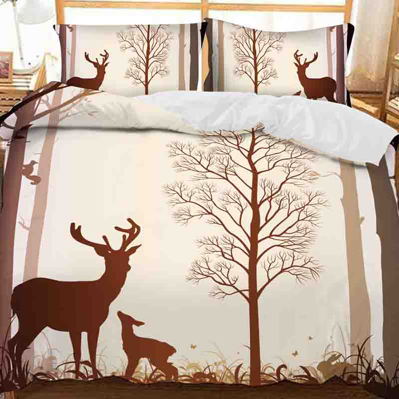 Brown Silhouette of Moose Printed Polyester 3-Piece Bedding Sets/Duvet Covers