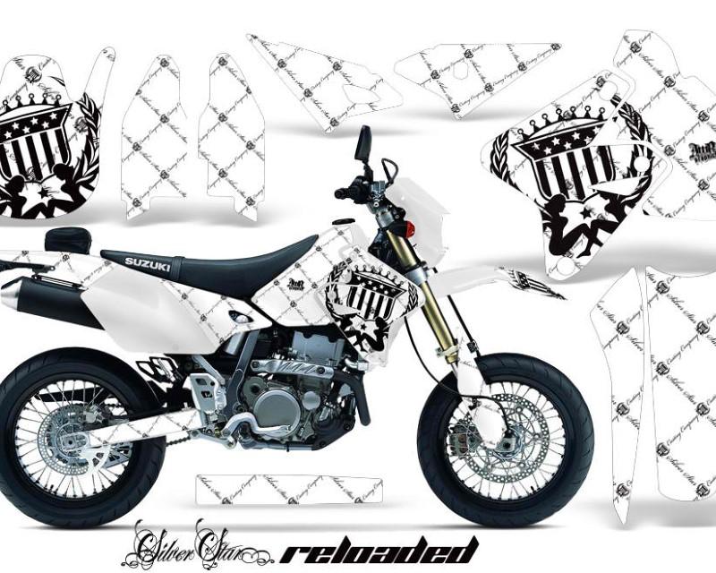 AMR Racing Dirt Bike Graphics Kit Decal Sticker Wrap For Suzuki DRZ400SM 2000-2018áRELOADED BLACK WHITE