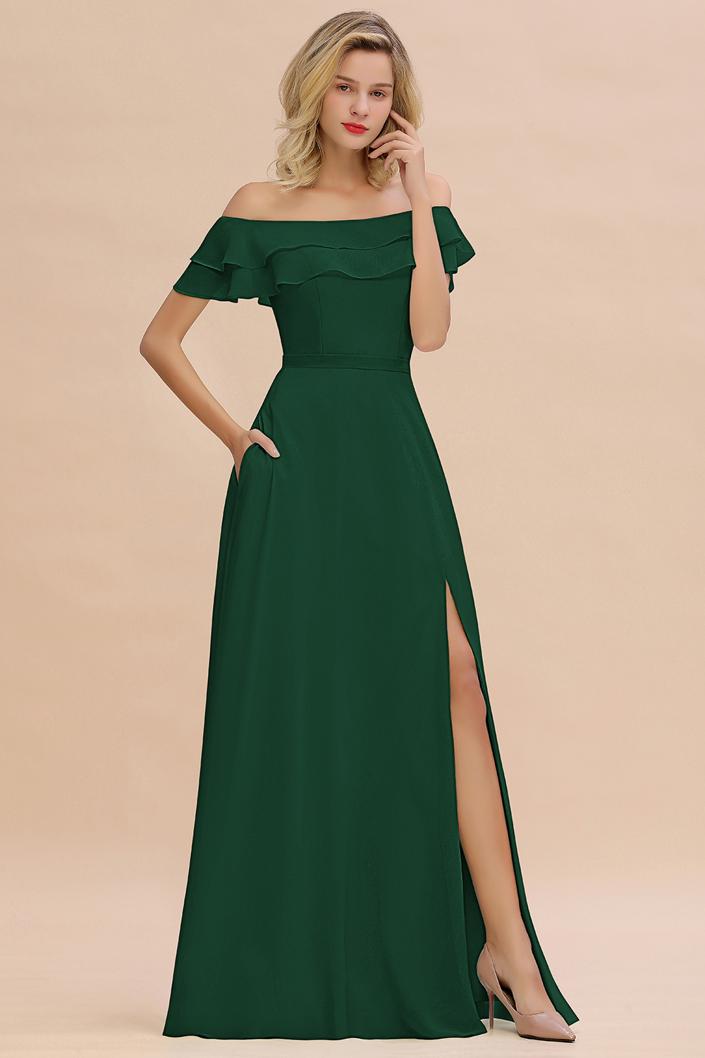 BMbridal Exquisite Off-the-shoulder Slit Mint Green Bridesmaid Dress With Pockets