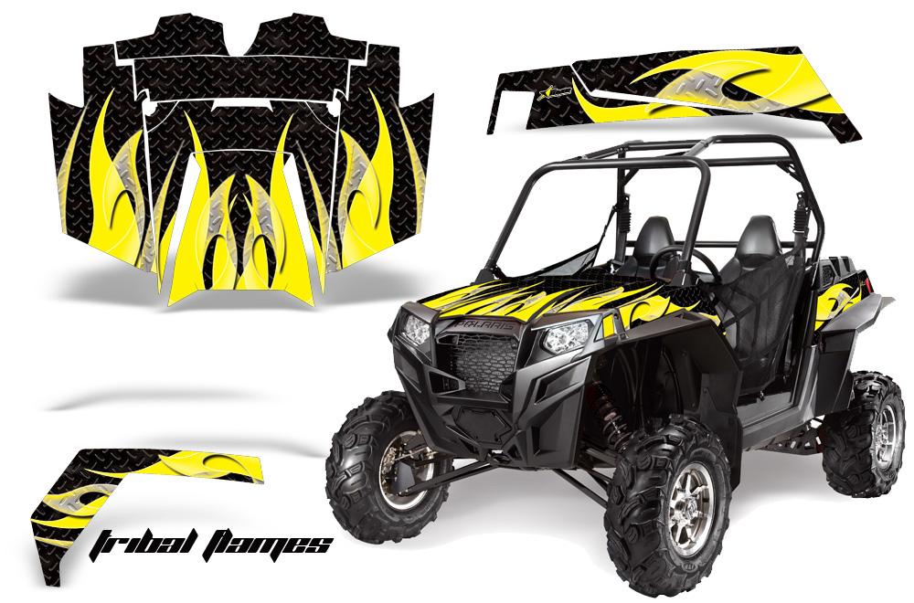 AMR Racing  Full Custom UTV Graphics Decal Kit Wrap Tribal Flames Yellow/Black Polaris RZR XP 900 11-14