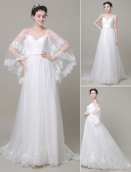 Milanoo Boho Beach Wedding Dress Detachabel Sleeves Court Train A-line Off-The-Shoulder Lace Tulle Bridal Gown