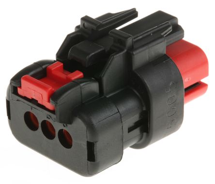 TE Connectivity , AMPSEAL 16 Automotive Connector Socket 1 Row 3 Way, Red