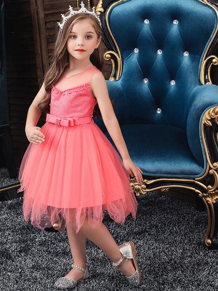 Milanoo Flower Girl Dresses Designed Neckline Sleeveless Embroidered Kids Social Party Dresses