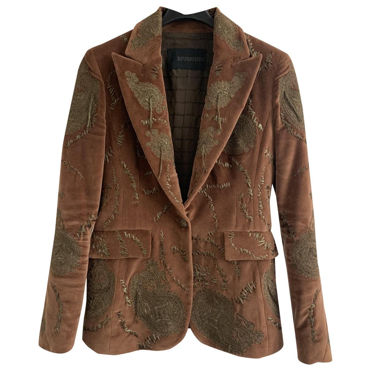 Ermanno Scervino \N Brown Velvet jacket for Women 42 IT