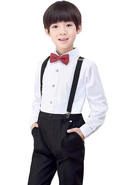Milanoo Ring Bearer Suits Polyester Cotton Long Sleeves Pants Shirt Cravat Black Wedding Boy Suits