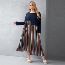 Plus Cut And Sew Stripe Tunic Dress