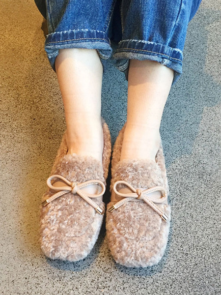 Milanoo Faux Fur Loafers Apricot Round Toe Bows Slip On Winter Shoes