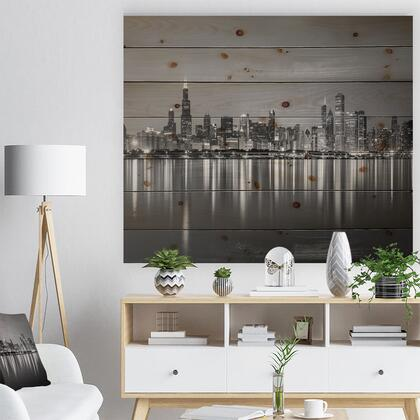 WD10098-46-36 Chicago Skyline At Night Black And White - Cityscape Print On Natural Pine Wood -