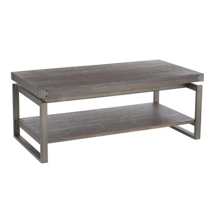 TC-DRIFT ANE Drift Industrial Coffee Table in Antique Metal with Espresso Wood-Pressed Grain