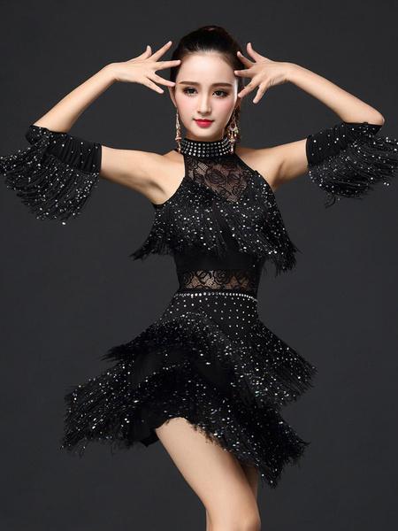 Milanoo Disfraz Halloween Traje de baile latino para baile fibra de poliester de terciopelo estilo femenino  Halloween