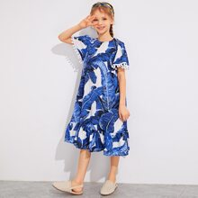 Girls Pom Pom Detail Flounce Hem Tropical Dress